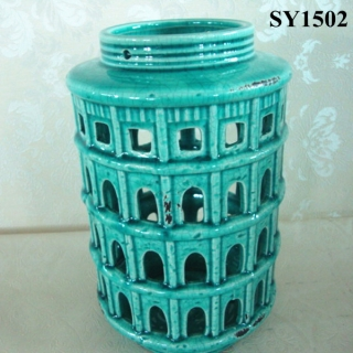 Blue glazed house hollow out ceramic candle holder